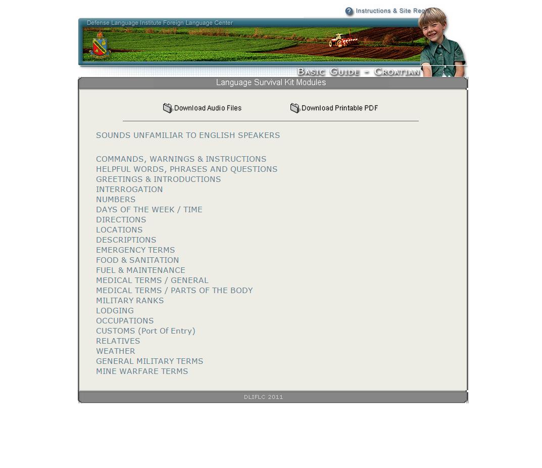 Free Croatian Language Survival Kit Download