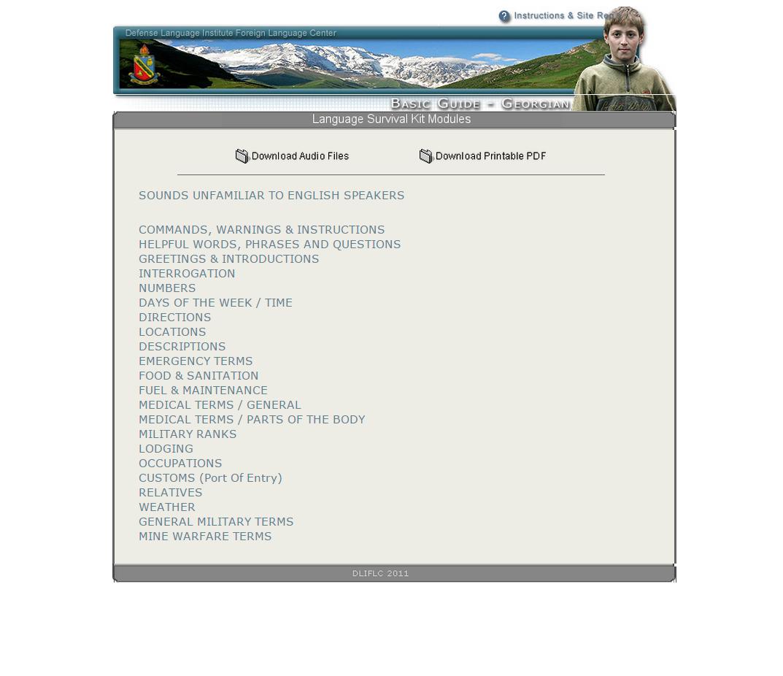 Free Georgian Language Survival Kit Download